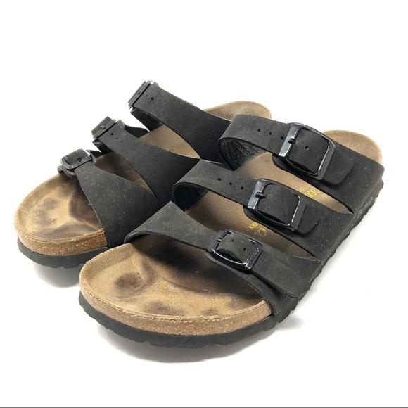 47ac6562810 Birkenstock Shoes - Birkenstock Betula Black Leather 3 Strap Sandals